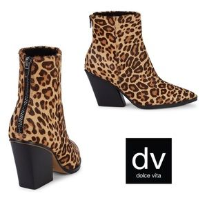Dolce Vita Issa Leopard Calf Hair Ankle Boot | 8